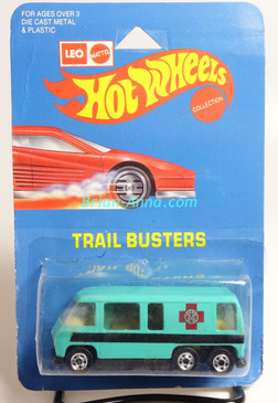 Hot Wheels Leo India Mattel Aqua GMC Motor Home, Dark Red Cross tampo artwork, blisterpack