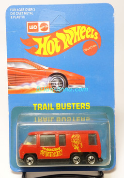 Hot Wheels Leo India Mattel Red GMC Motor Home, Spider-Man tampo artwork, blisterpack