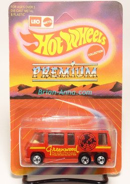 Hot Wheels Leo India Mattel Red GMC Motor Home, Greenwood tampo artwork, blisterpack