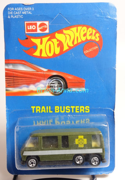 Hot Wheels Leo India Mattel Green GMC Motor Home, Yellow Cross tampo artwork, blisterpack