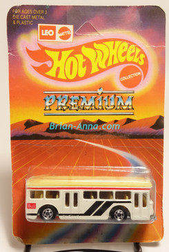 Hot Wheels Leo India Mattel White, Single Decker Bus, Black/Red tampos, blisterpack