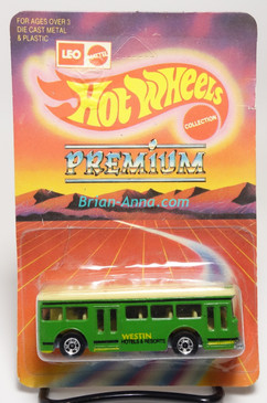 Hot Wheels Leo India Mattel Single Decker Bus, Green w/Black/Yellow tampo, blisterpack