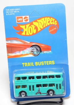 Hot Wheels Leo India Mattel Double Decker Bus, Aqua w/Heart Beat of India tampo, blisterpack