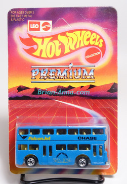 Hot Wheels Leo India Mattel Double Decker Bus, Blue w/Falcon Jet/Chase/San Jose tampo, blisterpack