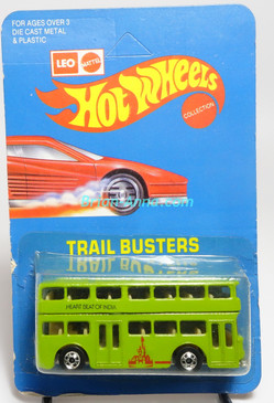 Hot Wheels Leo India Mattel Double Decker Bus, Avocado Green w/Heartbeat of Indian tampo, blisterpack