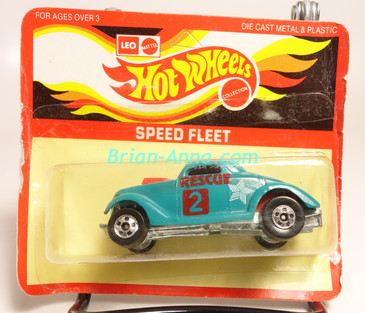 Hot Wheels Leo India Mattel Neet Streeter in Aqua with Rescue tampo on side, BW wheels, blisterpack