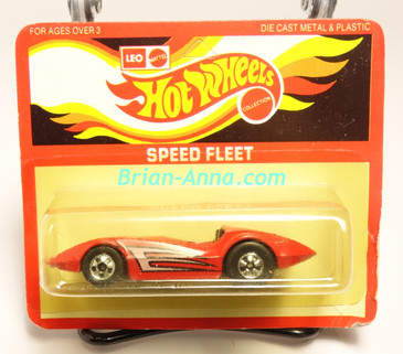 Hot Wheels Leo India Mattel Second Wind, Red, tampo on side, BW wheels, blisterpack