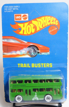 Hot Wheels Leo India Mattel Double Decker Bus, Bright Green, Whitewalls, w/Heartbeat of Indian tampo, blisterpack