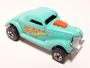 Hot Wheels Leo India Mattel Neet Streeter in Aqua, flames on side, BW wheels, loose