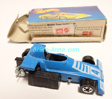 Hot Wheels Leo India Mattel Lickety Six, Light Blue Enamel,  BW wheels, box