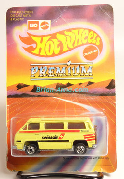 Hot Wheels Leo India Mattel VW Sunagon, Light Yellow, SwissAir tampo, BW wheels, unpunched blisterpack