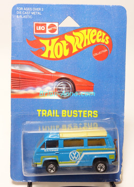 Hot Wheels Leo India Mattel VW Sunagon, Medium Blue, Yellow/White tampo on side, BW wheels, blisterpack