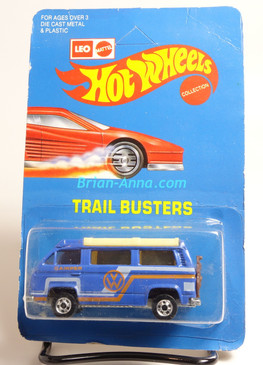 Hot Wheels Leo India Mattel VW Sunagon, Blue enamel, Orange/White tampo on side, BW wheels, unpunched blisterpack