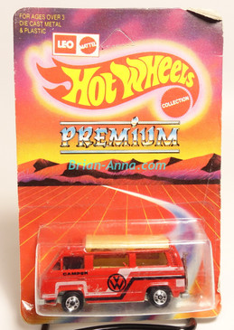 Hot Wheels Leo India Mattel VW Sunagon, Red enamel, White/Black tampo on side, BW wheels, unpunched blisterpack