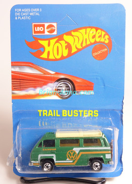 Hot Wheels Leo India Mattel VW Sunagon, Medium Green, White/Gold tampo on side, BW wheels, unpunched blisterpack
