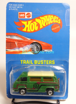 Hot Wheels Leo India Mattel VW Sunagon, Dark Green, Red/Black tampo on side, BW wheels, unpunched blisterpack