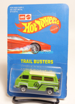 Hot Wheels Leo India Mattel VW Sunagon, Avocado Green, White/Black tampo on side, BW wheels, unpunched blisterpack