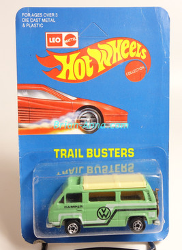 Hot Wheels Leo India Mattel VW Sunagon, mint Green, White/Black tampo on side, BW wheels, unpunched blisterpack
