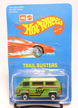Hot Wheels Leo India Mattel VW Sunagon, medium Green, Red/Black tampo on side, BW wheels, unpunched blisterpack