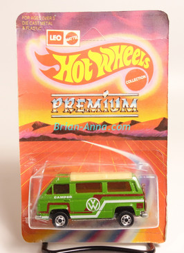 Hot Wheels Leo India Mattel VW Sunagon, Green, Red/White tampo on side, BW wheels, unpunched blisterpack