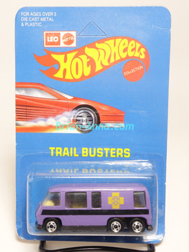 Hot Wheels Leo India Mattel GMC Motorhome, Purple/Lavender, Yellow cross tampo on side, BW wheels, unpunched blisterpack