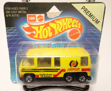 Hot Wheels Leo India Mattel GMC Motorhome, Bright Yellow, American Thread Co, tampo on side, BW wheels, blisterpack