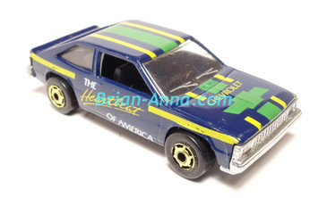 Hot Wheels Leo India Mattel Chevy Citation, Dark Blue, Heartbeat of America, tampo on side, BW wheels, loose