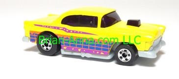 Hot Wheels '55 Chevy, Bright Yellow, bw wheels, Malaysia, loose