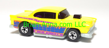 Hot Wheels '55 Chevy, Bright Yellow, bw wheels, Malaysia, loose