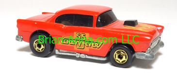 Hot Wheels '55 Chevy, Red w/Chevy Fever tampo, HK base, hogd wheels, loose