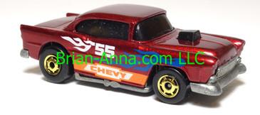 Hot Wheels '55 Chevy, Dark Metalflake Red, hogd wheels, Malaysia, loose