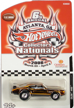 6th Hot Wheels Nationals Olds 442 Charity Car in Gold Chrome finish
