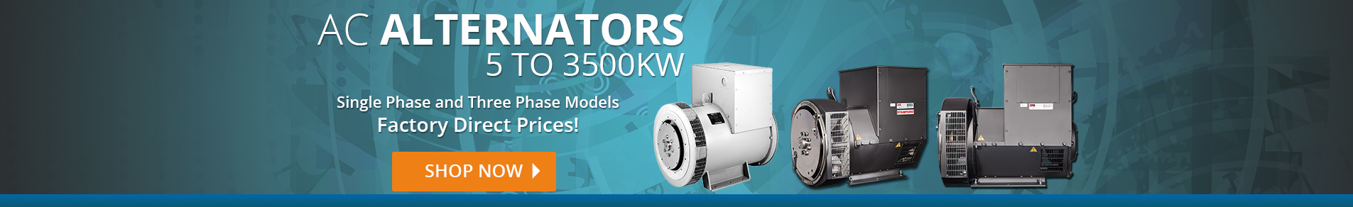 Leroy Somer, Marathon and Stamford Alternators from 5 to 3500 KW
