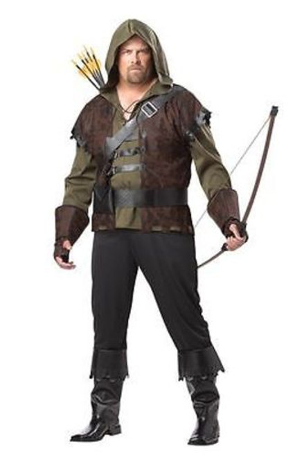 ADULT MENS PLUS SIZE ROBIN HOOD MEDIEVAL GOTHIC ARCHER FUN HALLOWEEN COSTUME 2XL