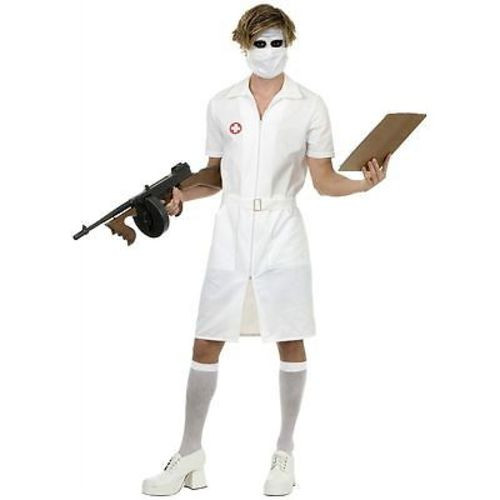 ADULT MENS PSYCHO TWISTED NURSE JOKER DARK KNIGHT MOVIE HALLOWEEN COSTUME  XS-XL