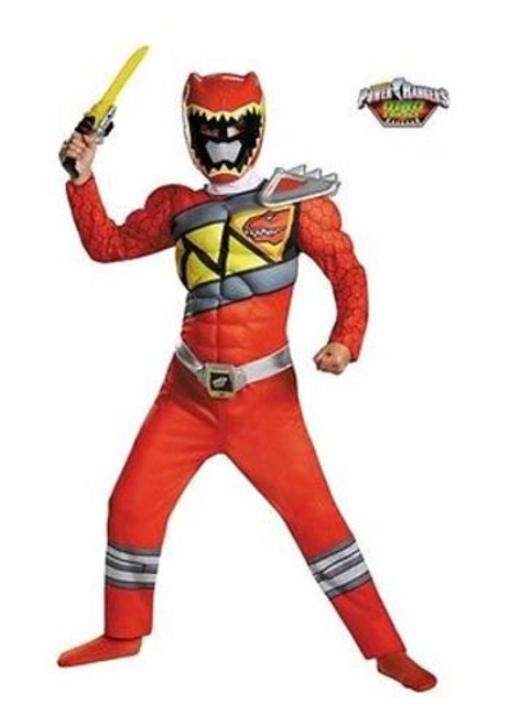 RED POWER RANGER DINO CHARGE MUSCLE CLASSIC CHILD KID COSPLAY COSTUME S-M