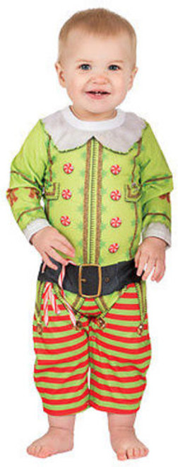 FAUX REAL CHRISTMAS ELF INFANT SANTAS HELPER HOLIDAY XMAS LONG SLEEVE ROMPER