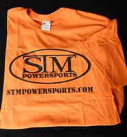 STM Powersports T-Shirt Orange with Black Font