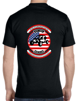 2018 STM Black Short Sleeved T-Shirt with American Flag Logo