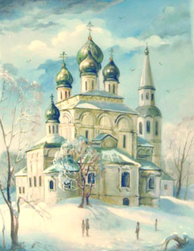 Fedoskino painting