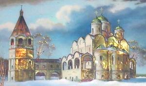 Fedoskino painting style architecture