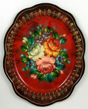 Floral details will vary as each tray is a hand painted original.