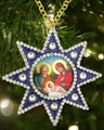 Nativity of Christ Star of Bethlehem Faberge Style Framed Icon Pendant