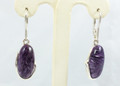 "Charoite Earrings "" Silver Wave"""