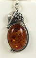 Amber Pendant with Silver Grapes