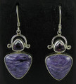 Triangle Charoite Earrings with Amethyst