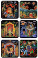 Set of coasters - Palekh