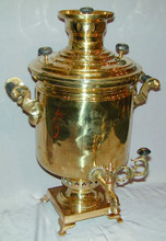 The body of the samovar is in excellent condition with some minor mineral deposit in the interior due to use. The samovar measures approximately 49cm high and has a volume of approximately   8 liters.
