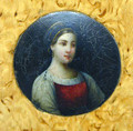 The lacquer medallion is made of papier mache and has a very nice oil painting of a young girl in traditional Russian costume. The painting is illuminated with a ground of aluminum powder.