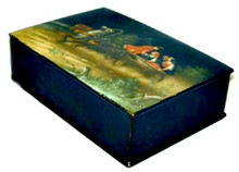The Box was constructed   using traditional materials and techniques, being papier-mache, lacquer, oil paints, and aluminum powder. The identifying workshop stamp on the bottom is worn away and only residual marks remain.